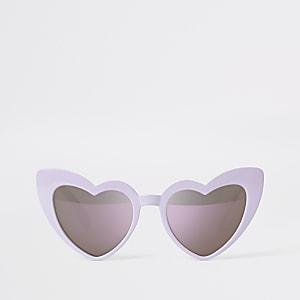 Lunettes de soleil papillon motif cœur violettes pour fille