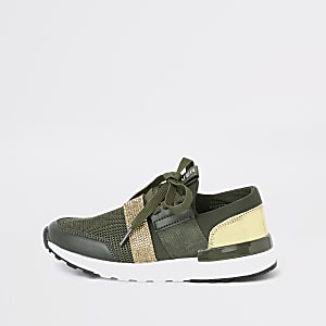 Girls khaki green metallic runner trainers