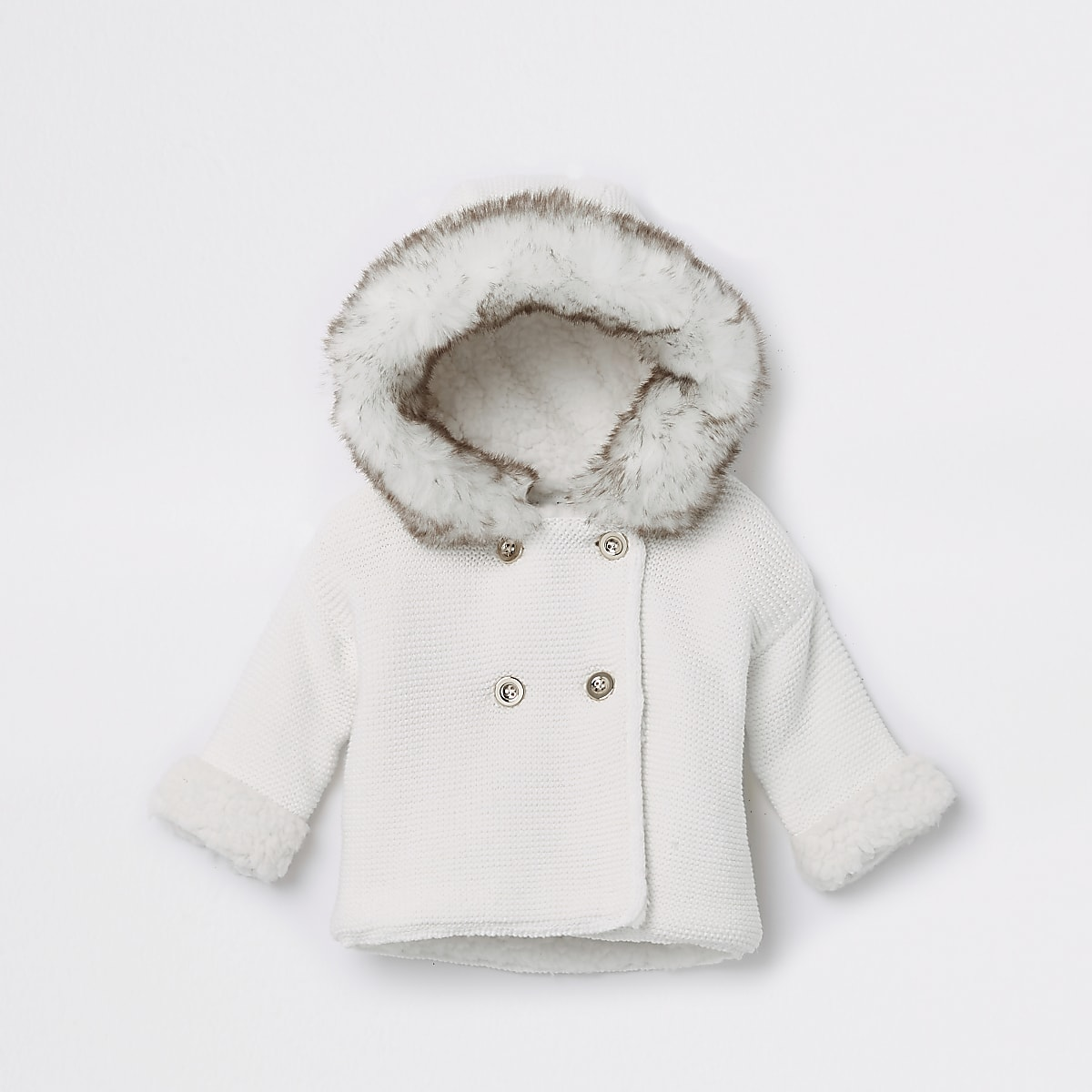 Baby white faux fur knit hooded cardigan