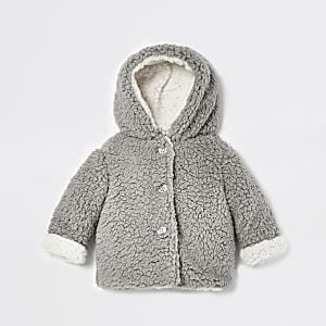 Grijs jack van fleece met borg voor baby's