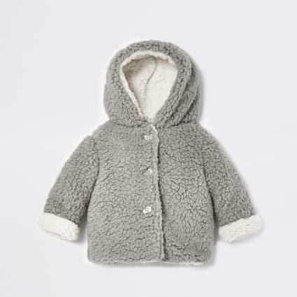 Baby grey borg fleece jacket