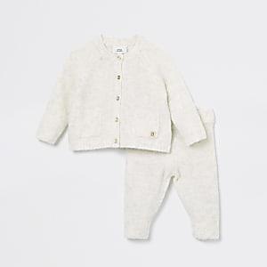 Ensemble en maille crème avec cardigan pour bébé