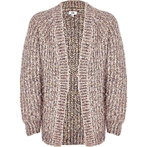 Girls pink knit tinsel cardigan
