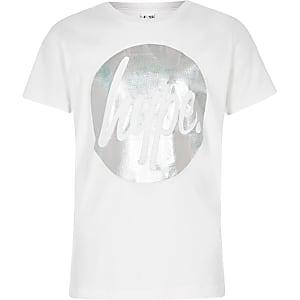 Hype – T-shirt imprimé cercle métallisé blanc
