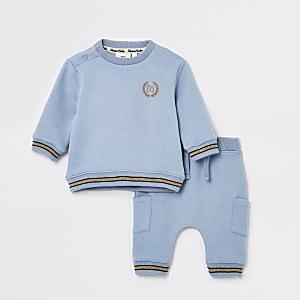 Blauwe joggingoutfit met engelenvleugelprint voor baby's