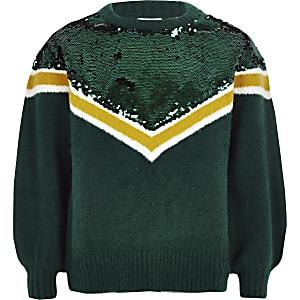 Girls green chevron sequin knit sweater