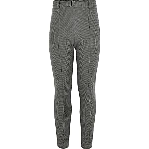 Girls grey check belted leggings