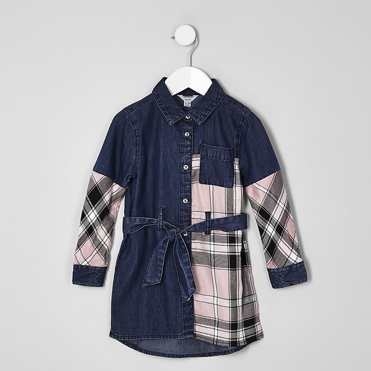999932384a219 Mini girls pink check denim shirt dress - Baby Girls Dresses - Mini Girls -  girls