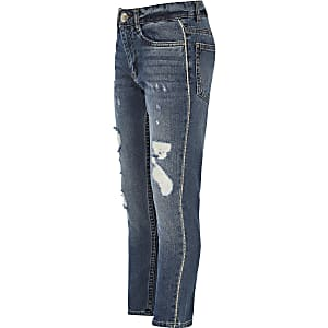 Girls blue Bella rhinestone trim jeans