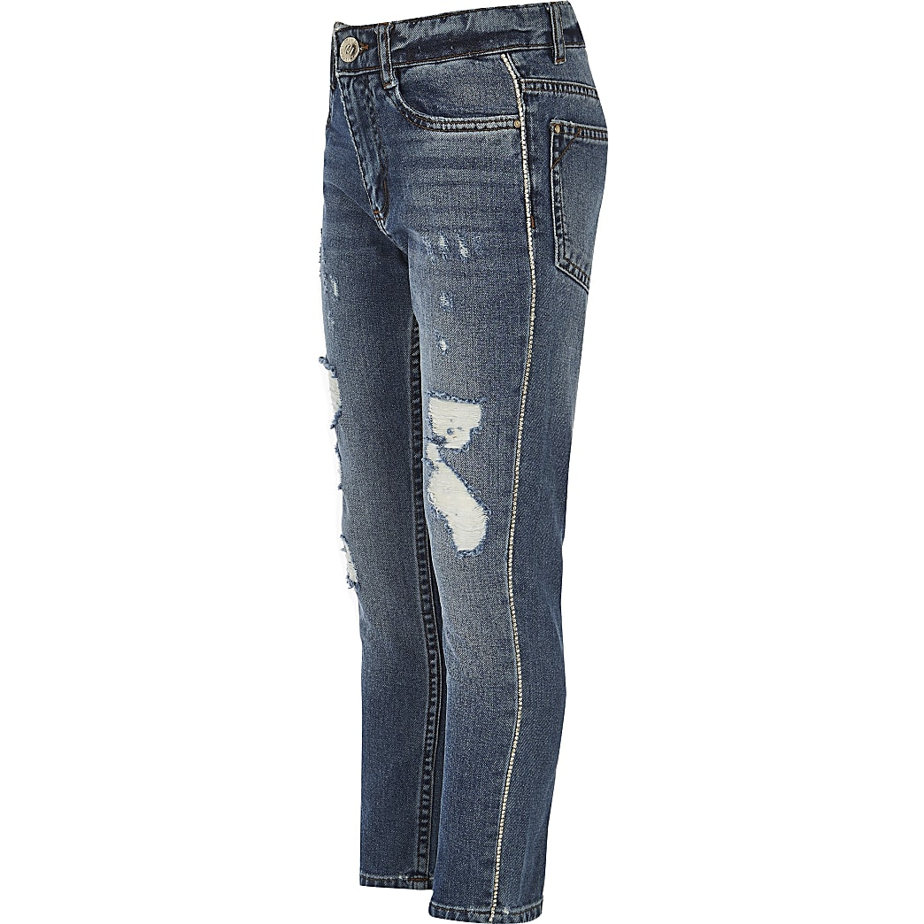 Girls blue Bella diamante trim jeans