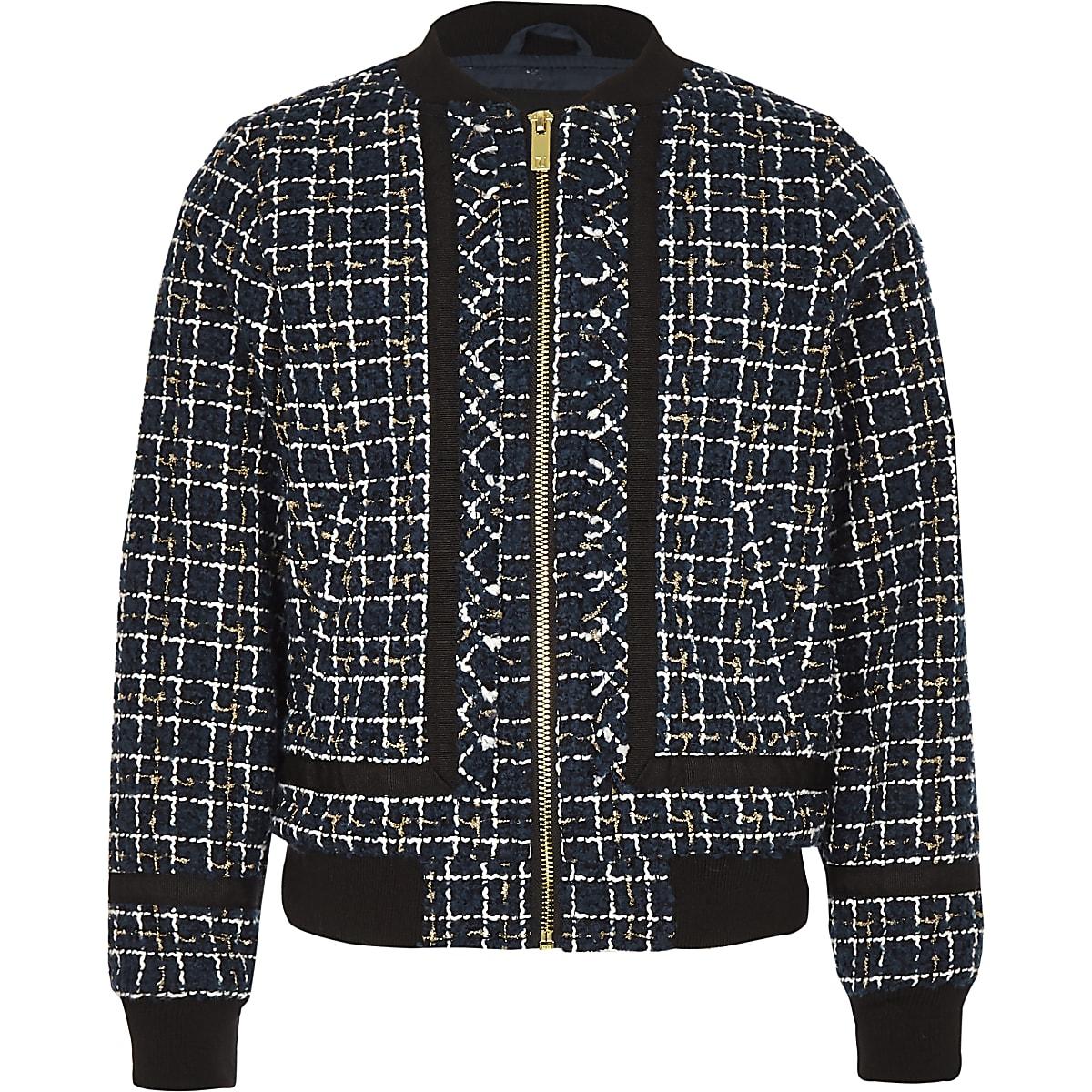 Navy boucle zip front bomber jacket