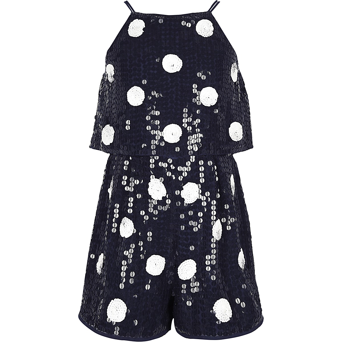 Girls navy polka dot sequin romper
