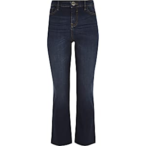 Girls dark blue flare jeans