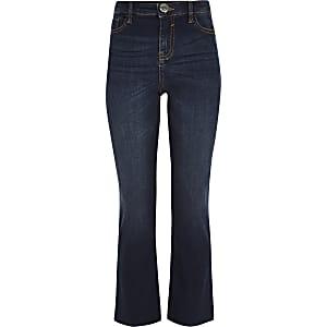 Donkerblauwe uitlopende jeans voor meisjes