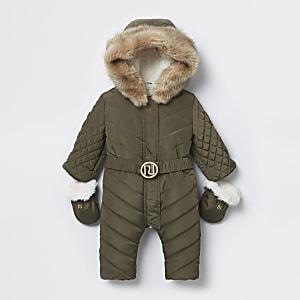 Baby khaki RI padded snowsuit