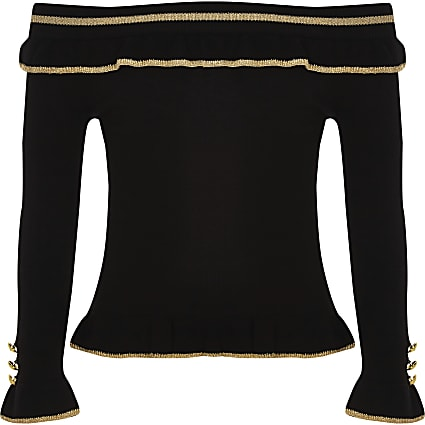 Girls black rib bardot frill top