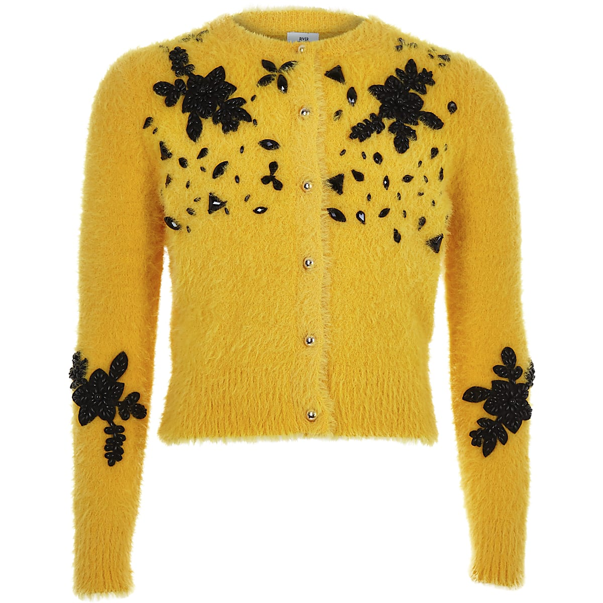 Girls yellow fluffy embellished cardigan
