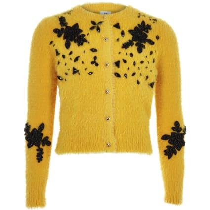 Girls yellow fluffy embellished cardigan