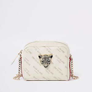 Girls cream RI leopard charm cross body bag