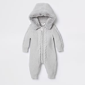 Grenouillère en maille grise pour bébé