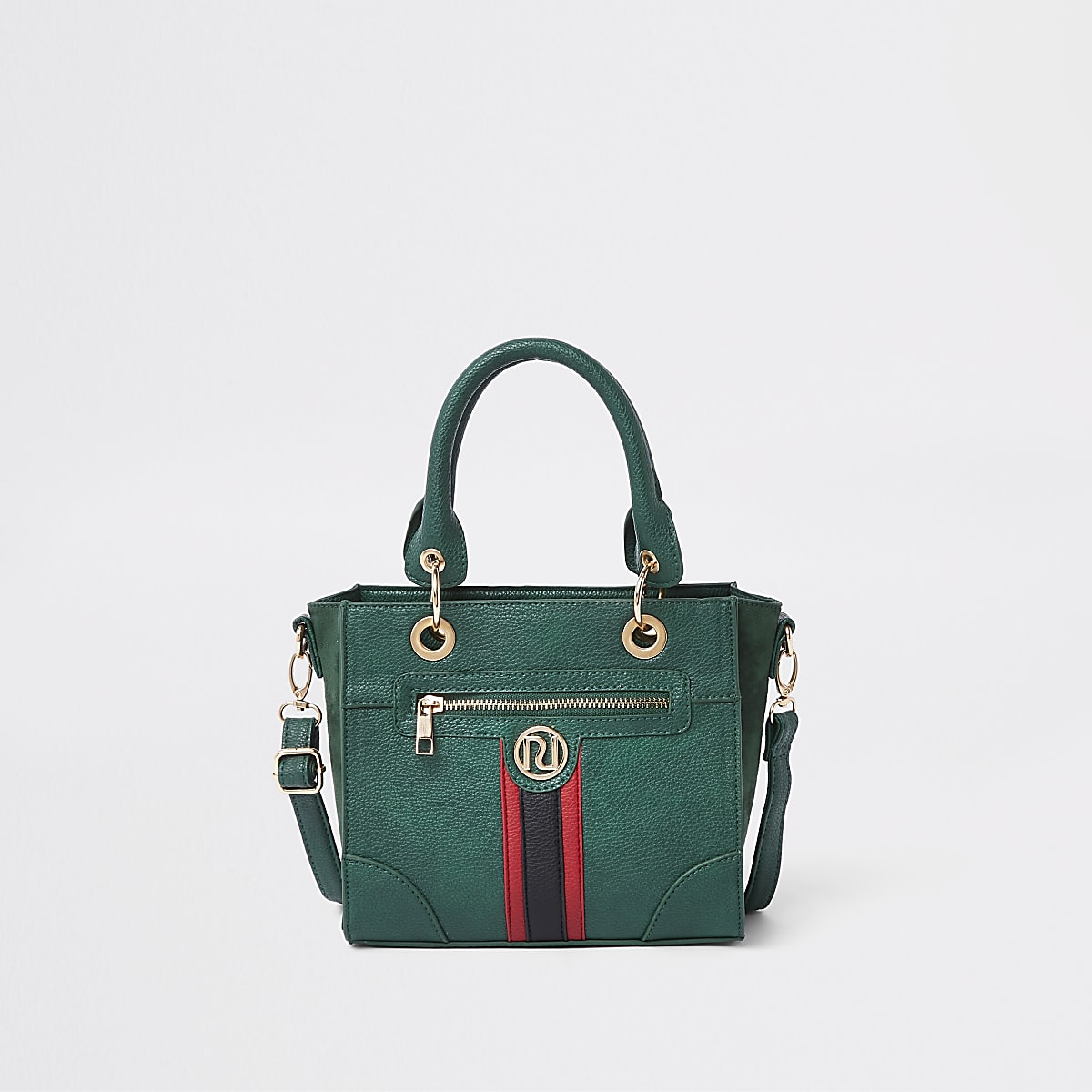Girls green contrast stripe boxy tote bag