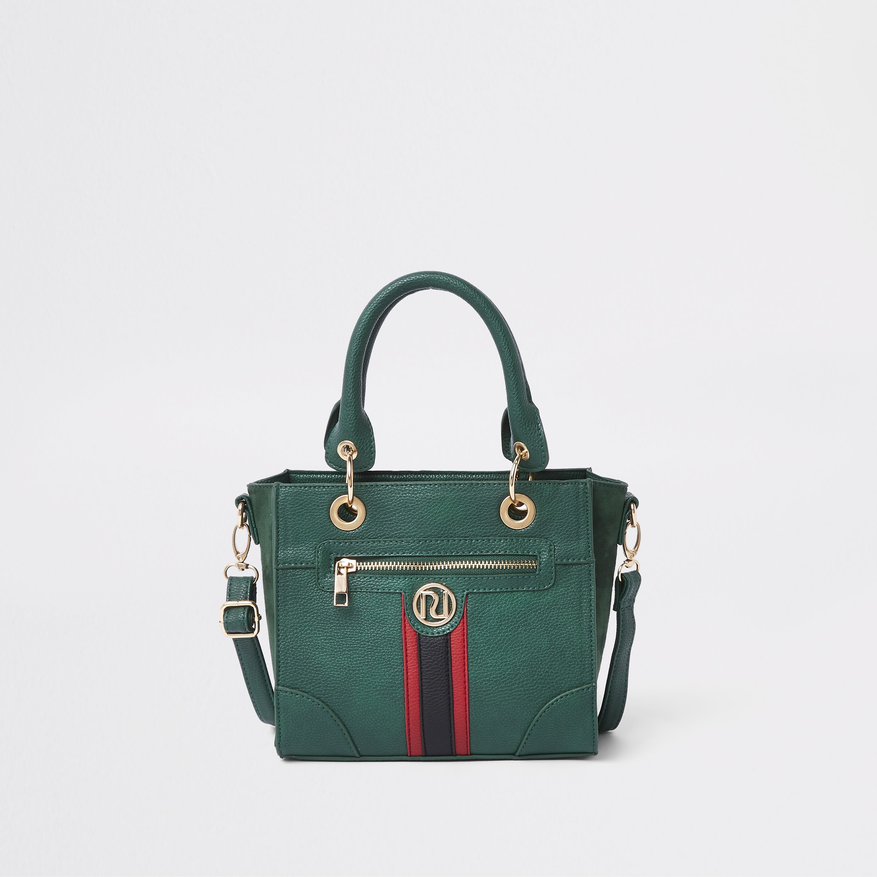 RIVER ISLAND | Girls Green contrast stripe boxy tote bag | Goxip