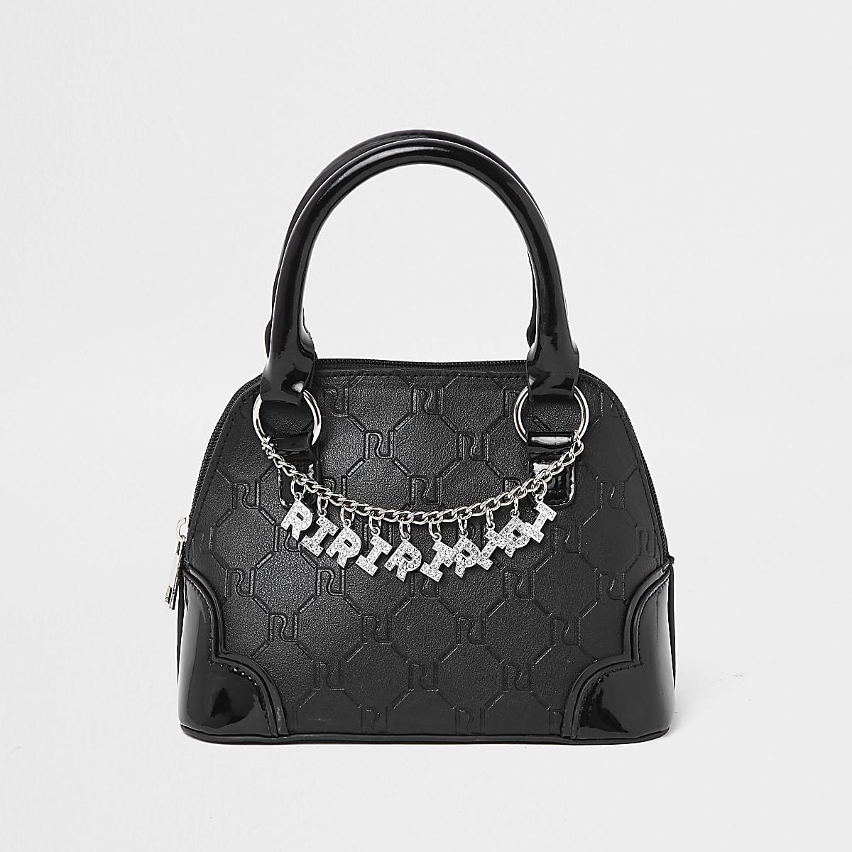 Girls black RI monogram chain tote bag