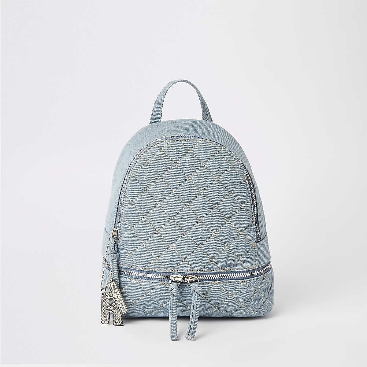 Girls denim quilted backpack