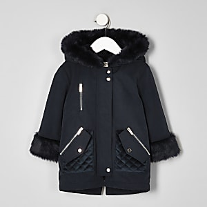 Mini girls navy faux fur trim parka jacket