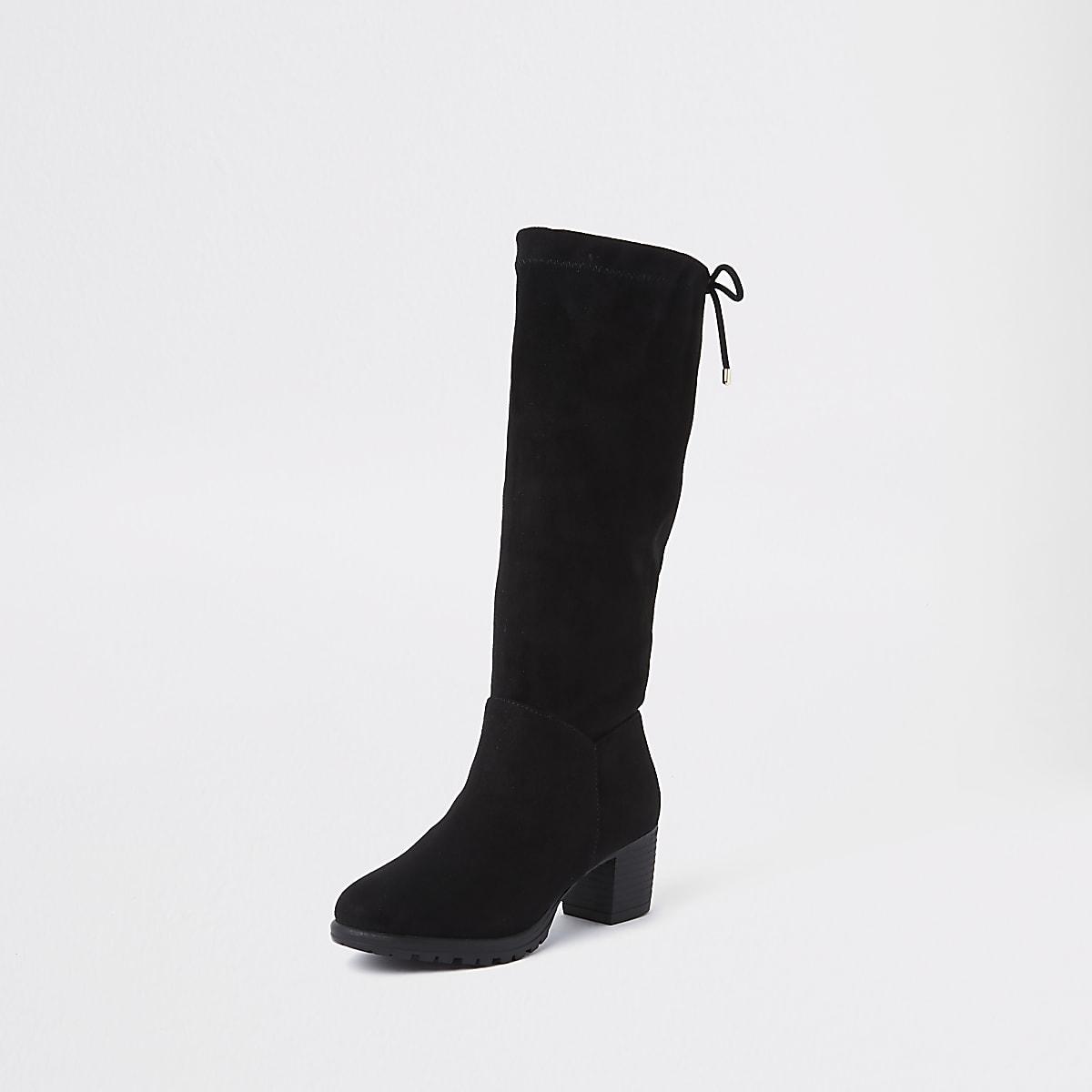 5a63e8c96a5 Girls black knee high chunky block heel boots - Boots - Footwear - girls
