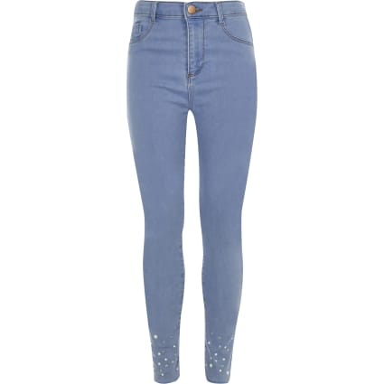Girls blue embellished hem Molly jeggings