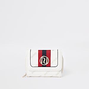 Crème uitvouwbare portemonnee met RI-print voor meisjes