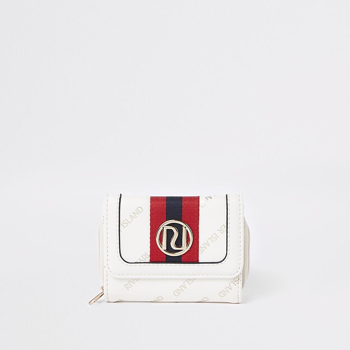 Girls cream RI print trifold purse