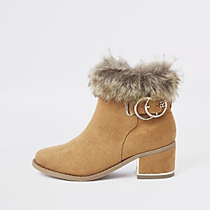 ded4456126 Girls tan faux fur cuff boots