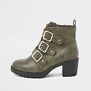 Girls beige triple strap faux fur boots