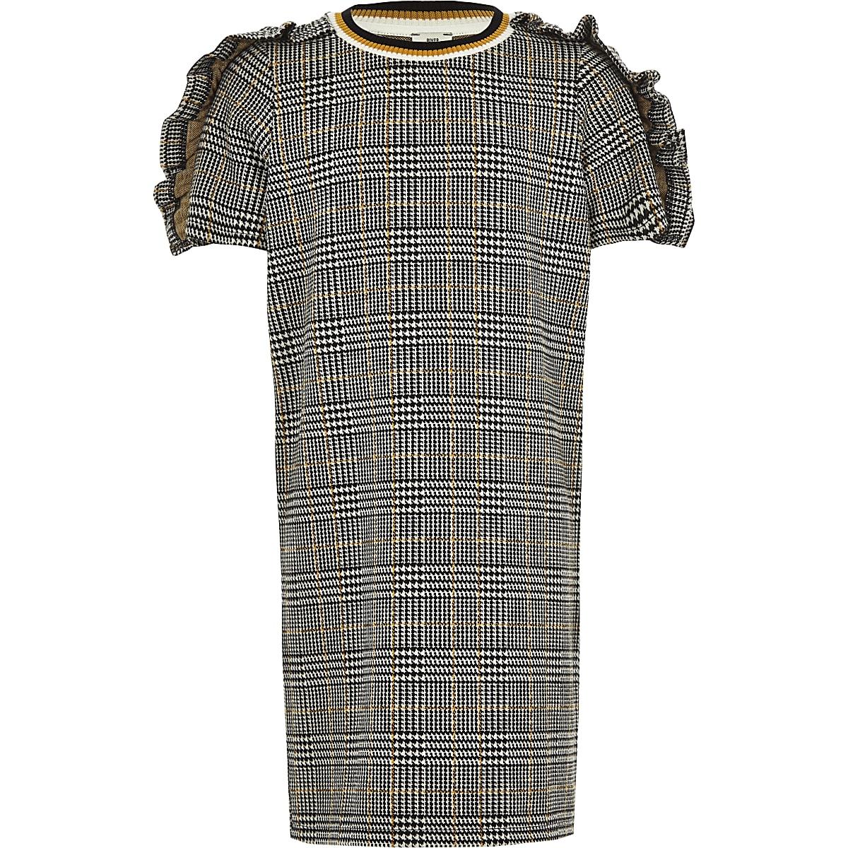 Girls grey check frill sleeve T-shirt dress