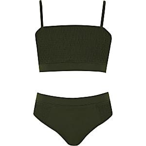 Bikini vert kaki à fronces pour fille
