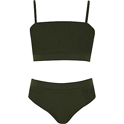 Girls khaki green shirred bikini