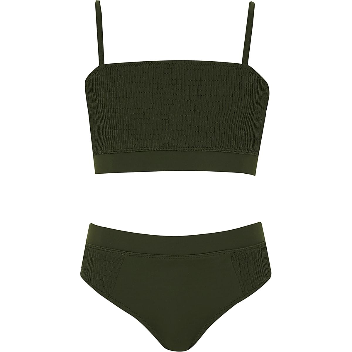 Girls khaki green shirred bikini