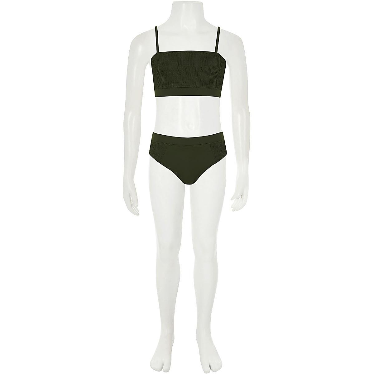 6fad91eff8eb3 Girls khaki green shirred bikini - Bikinis - Swimwear & Beachwear ...
