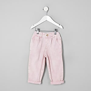 Mini girls pink mom fit jeans