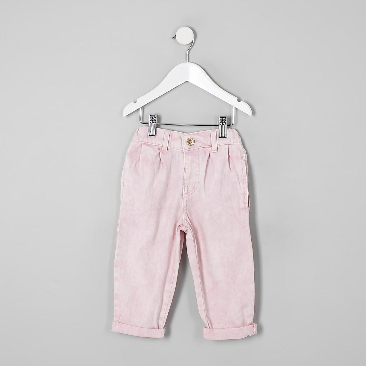 Mini girls pink mom fit jeans