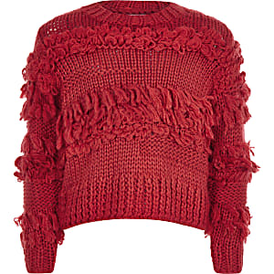 Girls red fringe trim hand knitted sweater