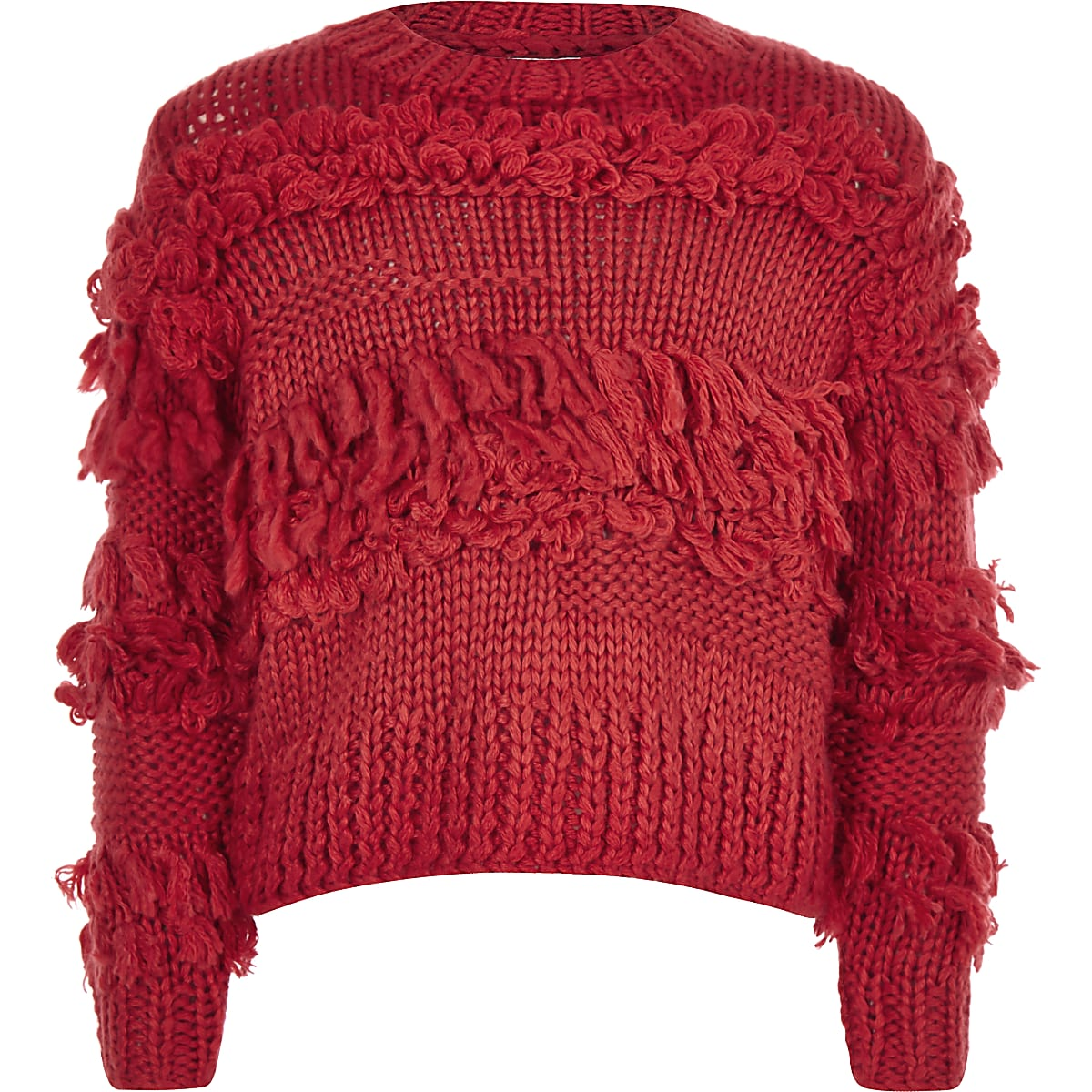 Girls red fringe trim hand knitted jumper