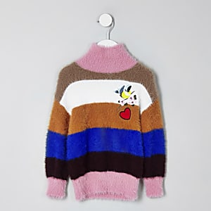 Mini girls blue fluffy stripe knit sweater