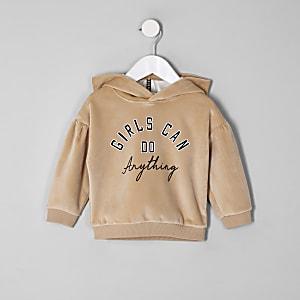 Mini girls brown suede puff sleeve hoodie