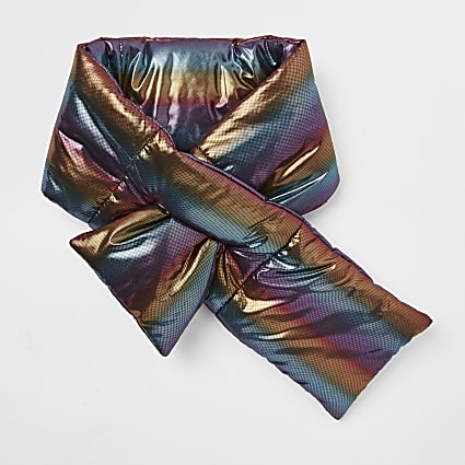 Girls blue rainbow stripe padded scarf