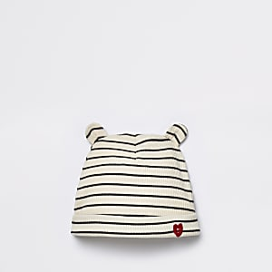 Baby cream ribbed stripe beanie hat