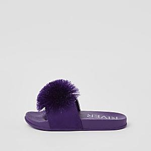 Claquettes violettes à pompon fille