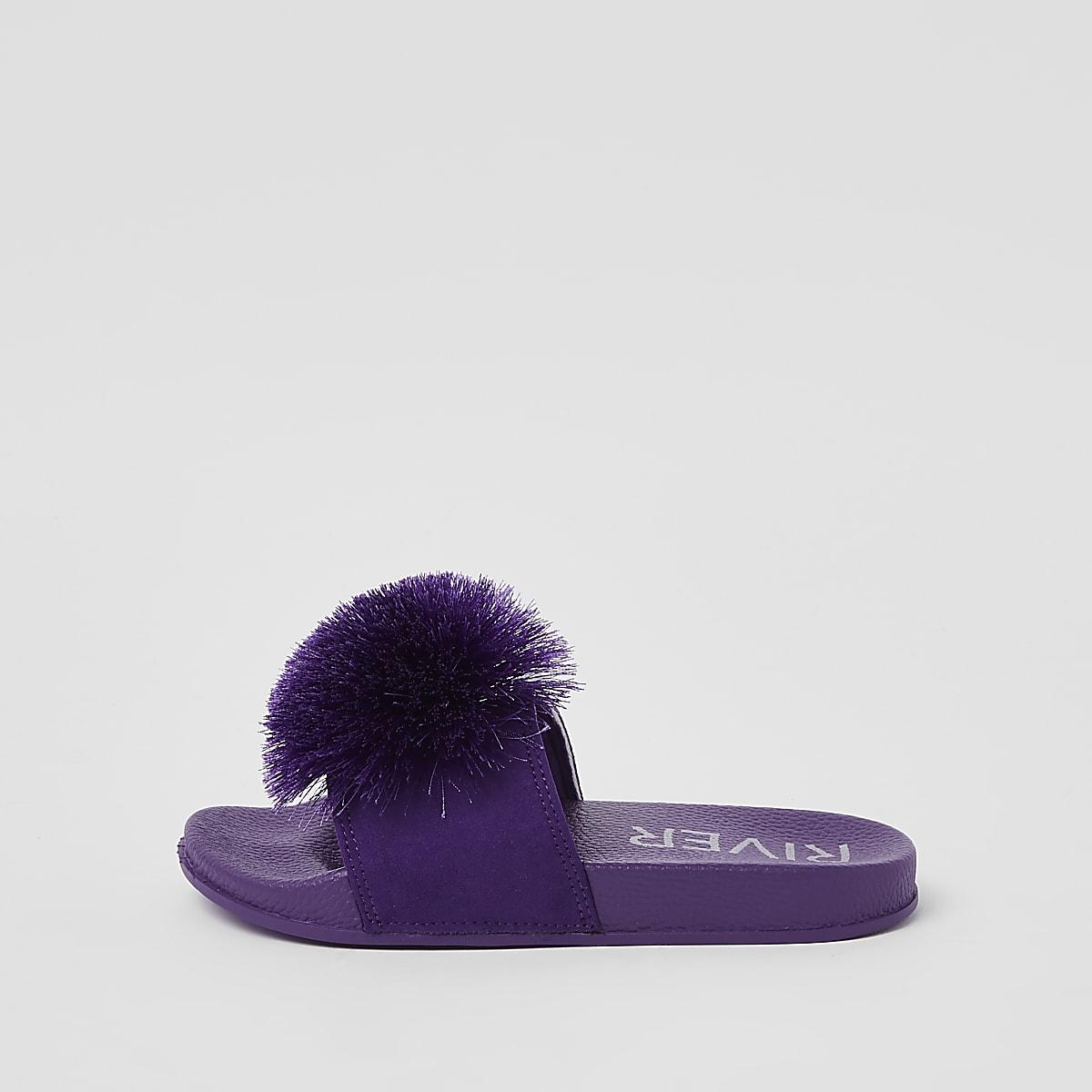 Girls purple pom pom sliders